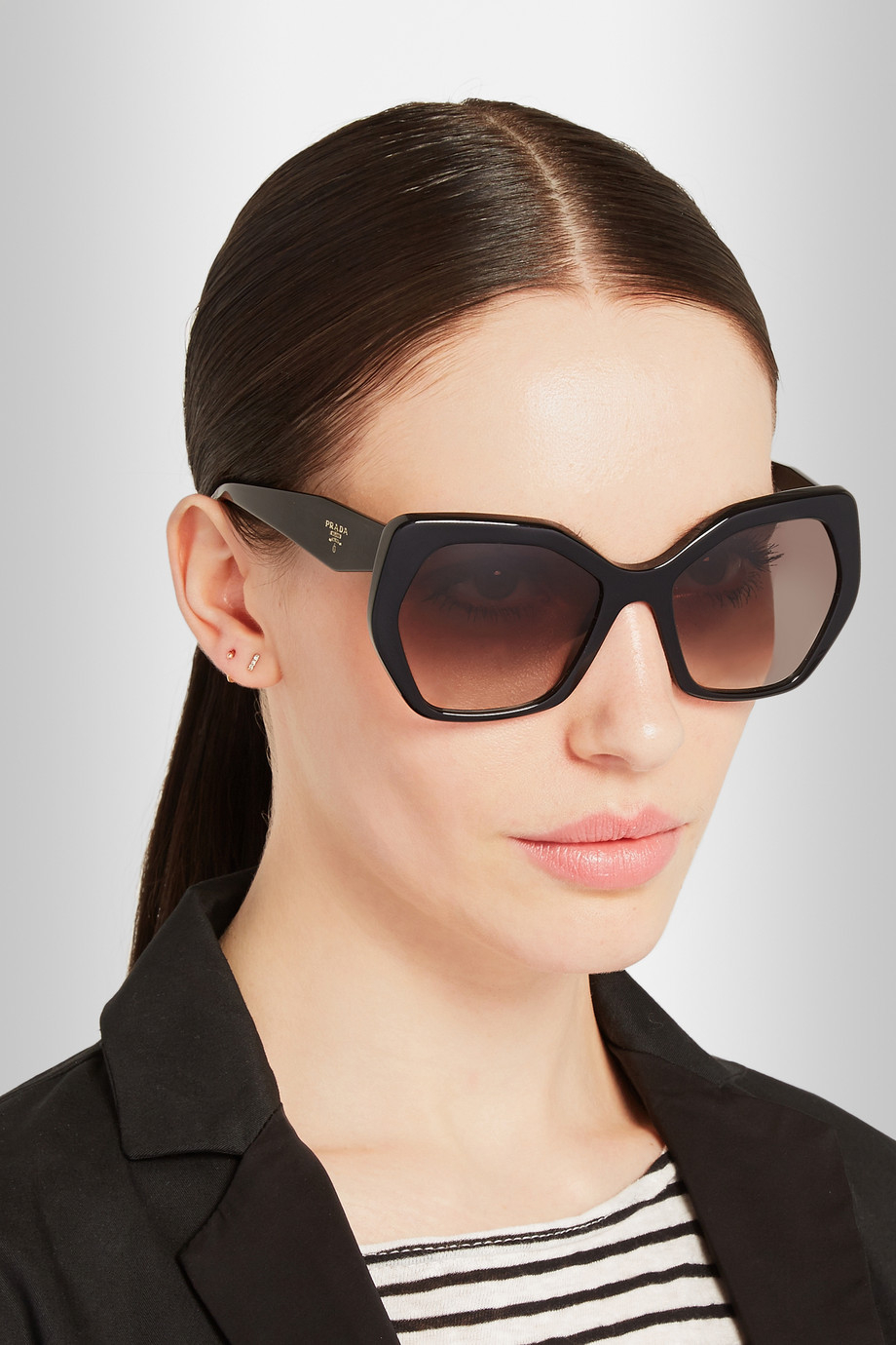 e2ceaff4df22 ... low price lyst prada square frame acetate sunglasses in black cdada  e941f
