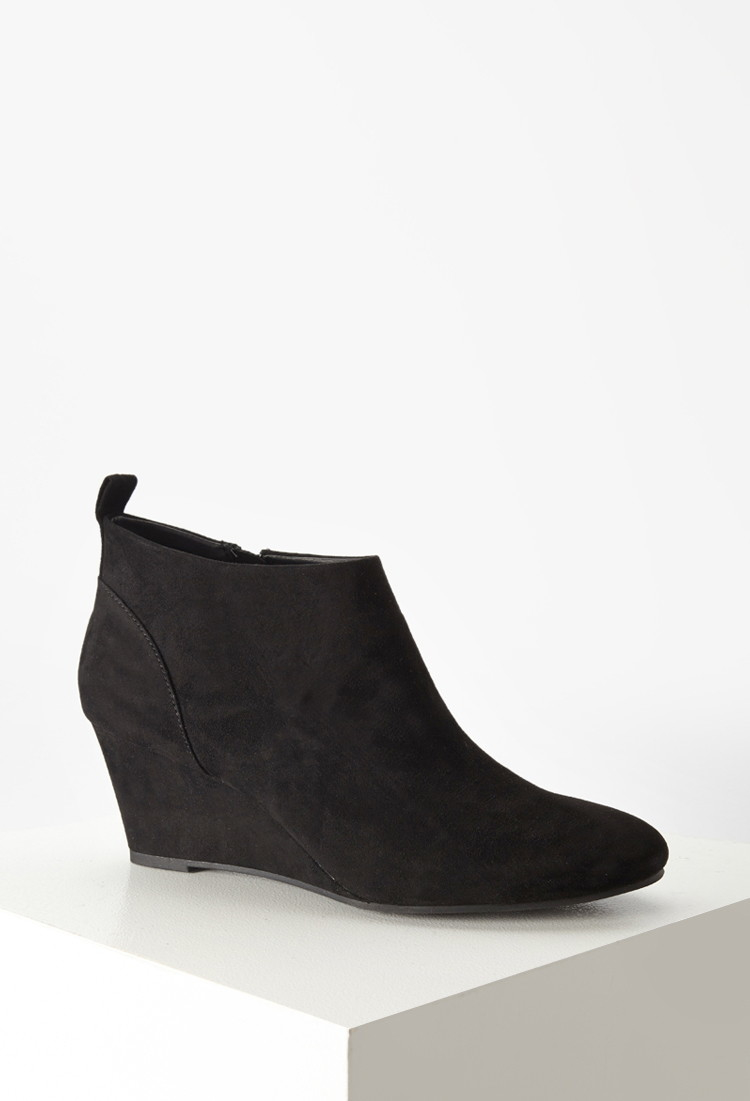 Forever 21 Faux Suede Wedge Booties In Black | Lyst