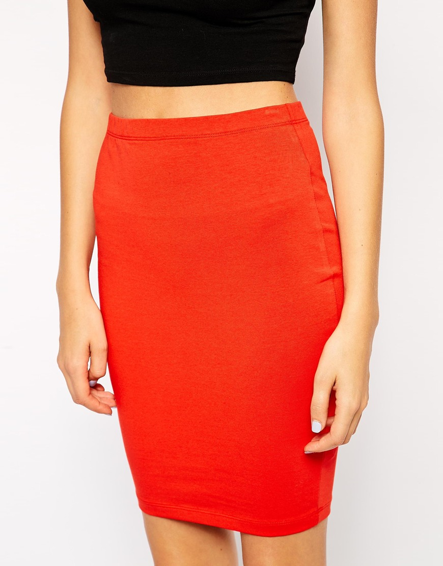 asos knee length pencil skirt in jersey in green lyst
