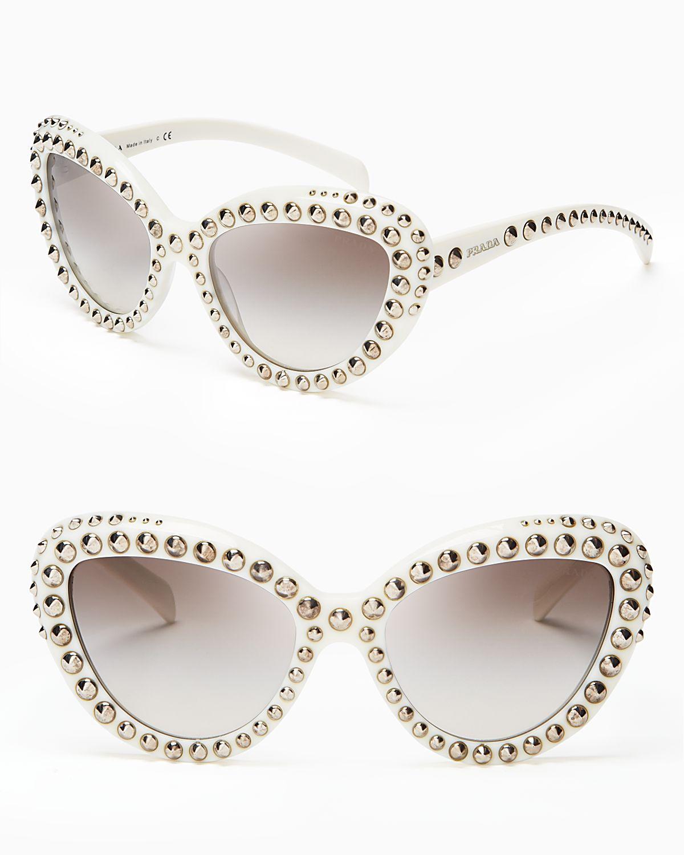 ce2e1e3f541d ... closeout lyst prada absolute ornate cat eye sunglasses in natural b7a8e  b1f90