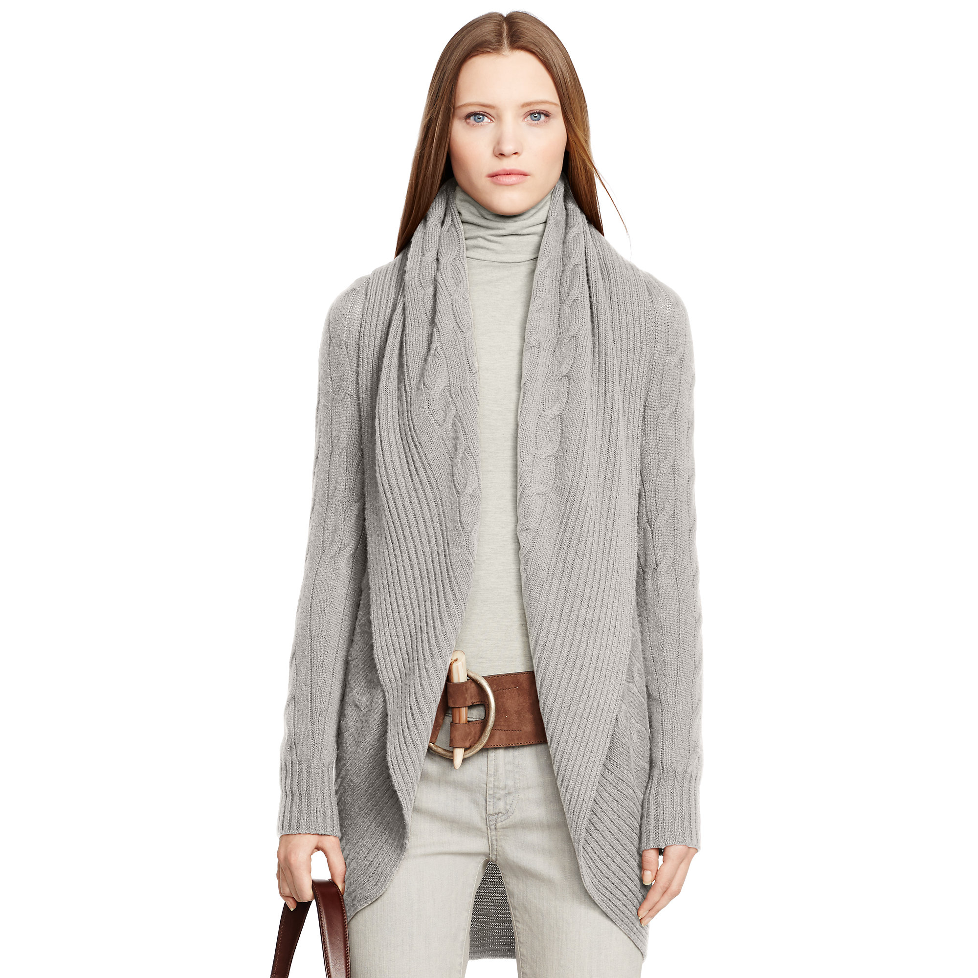 Ralph lauren black label Cabled Cashmere Open Cardigan in Gray | Lyst
