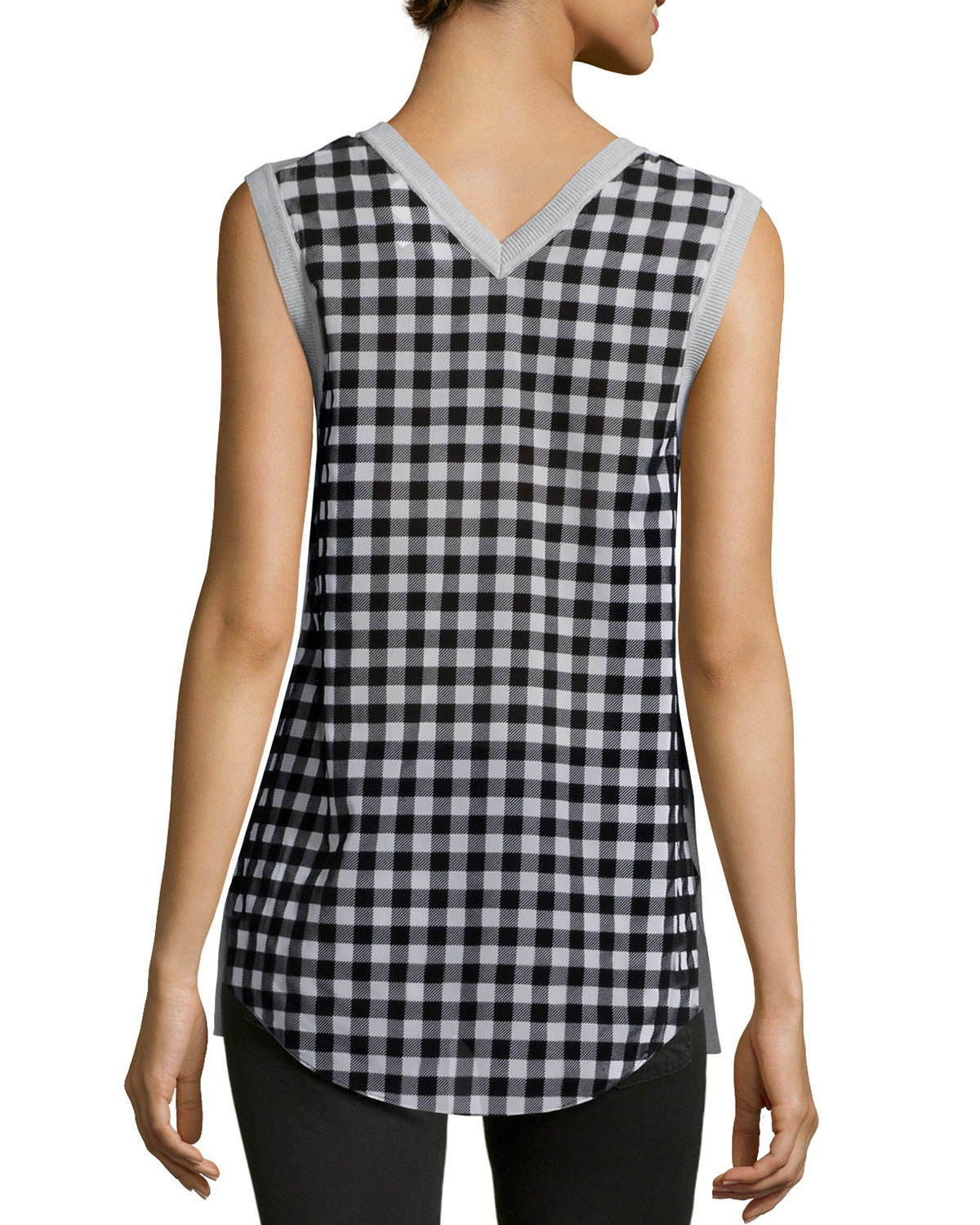 10 crosby derek lam sleeveless v neck knit front plaid back shell in gray lyst. Black Bedroom Furniture Sets. Home Design Ideas