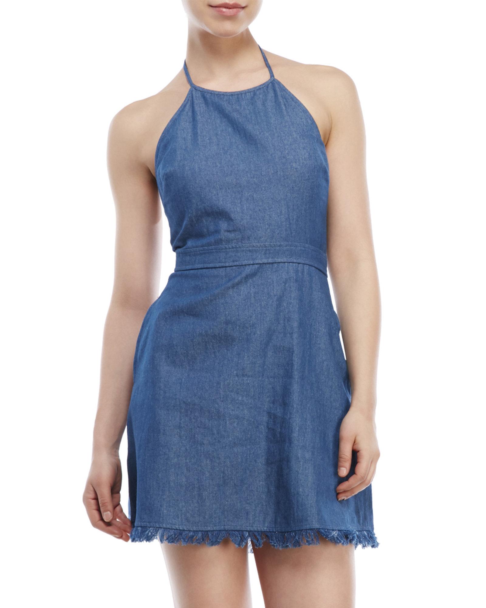 Lyst - Lush Denim Halter Dress in Blue