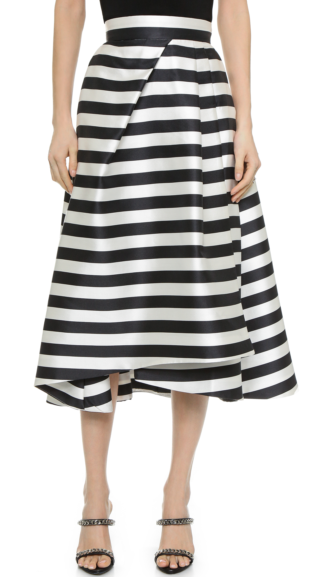 nicholas thin stripe pleat skirt black white in