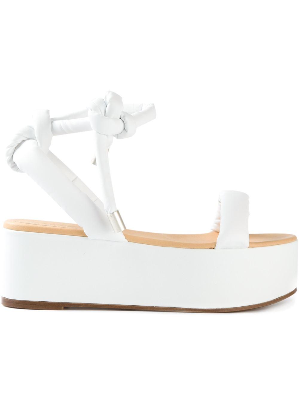 97d11d5be66 Lyst - MM6 by Maison Martin Margiela Flat Platform Sandals in White