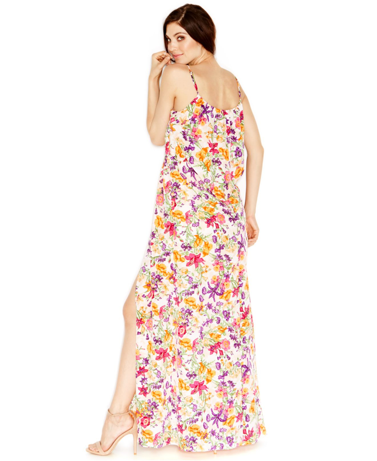 8c3618f0b9d Lyst - BCBGeneration Floral-print Ruffled Maxi Dress