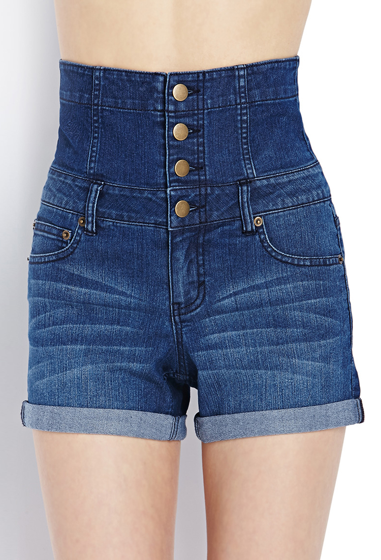 forever 21 high waisted denim shorts in blue lyst. Black Bedroom Furniture Sets. Home Design Ideas