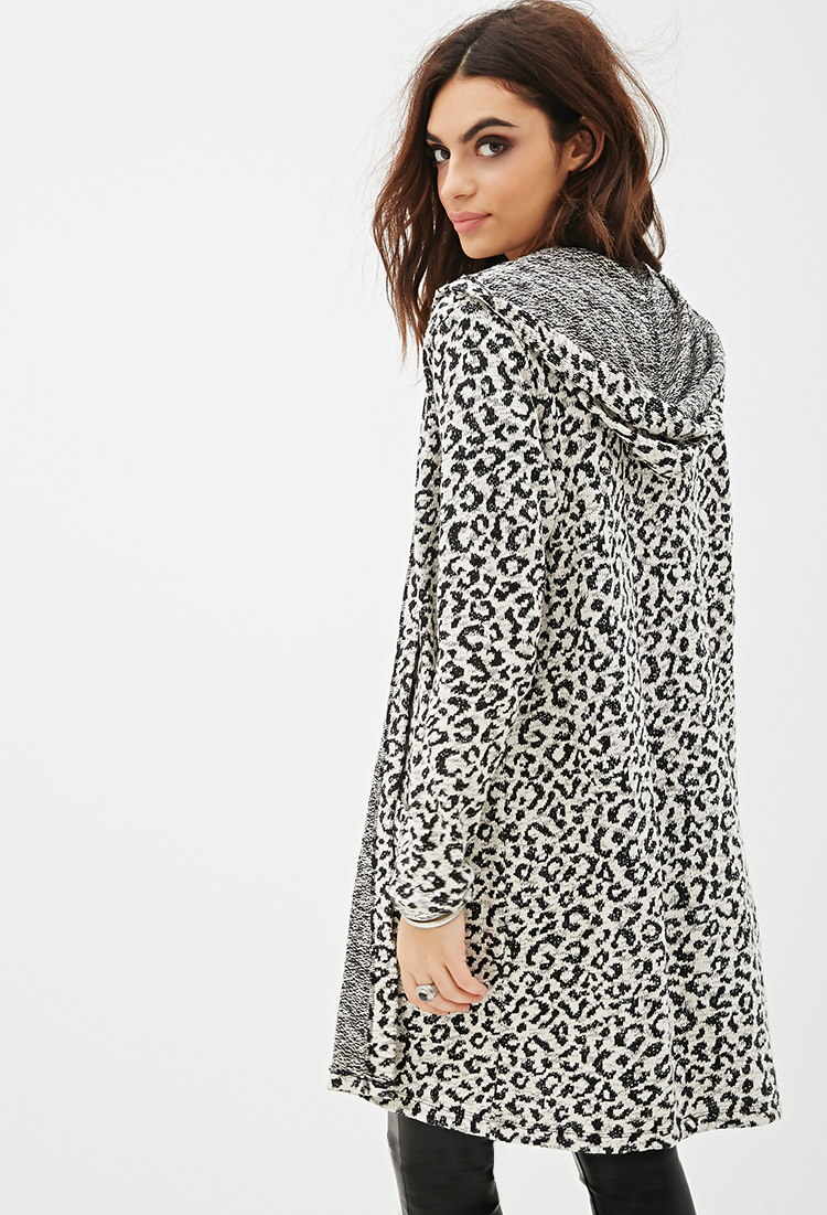 Forever 21 Leopard Print Longline Cardigan in Natural | Lyst