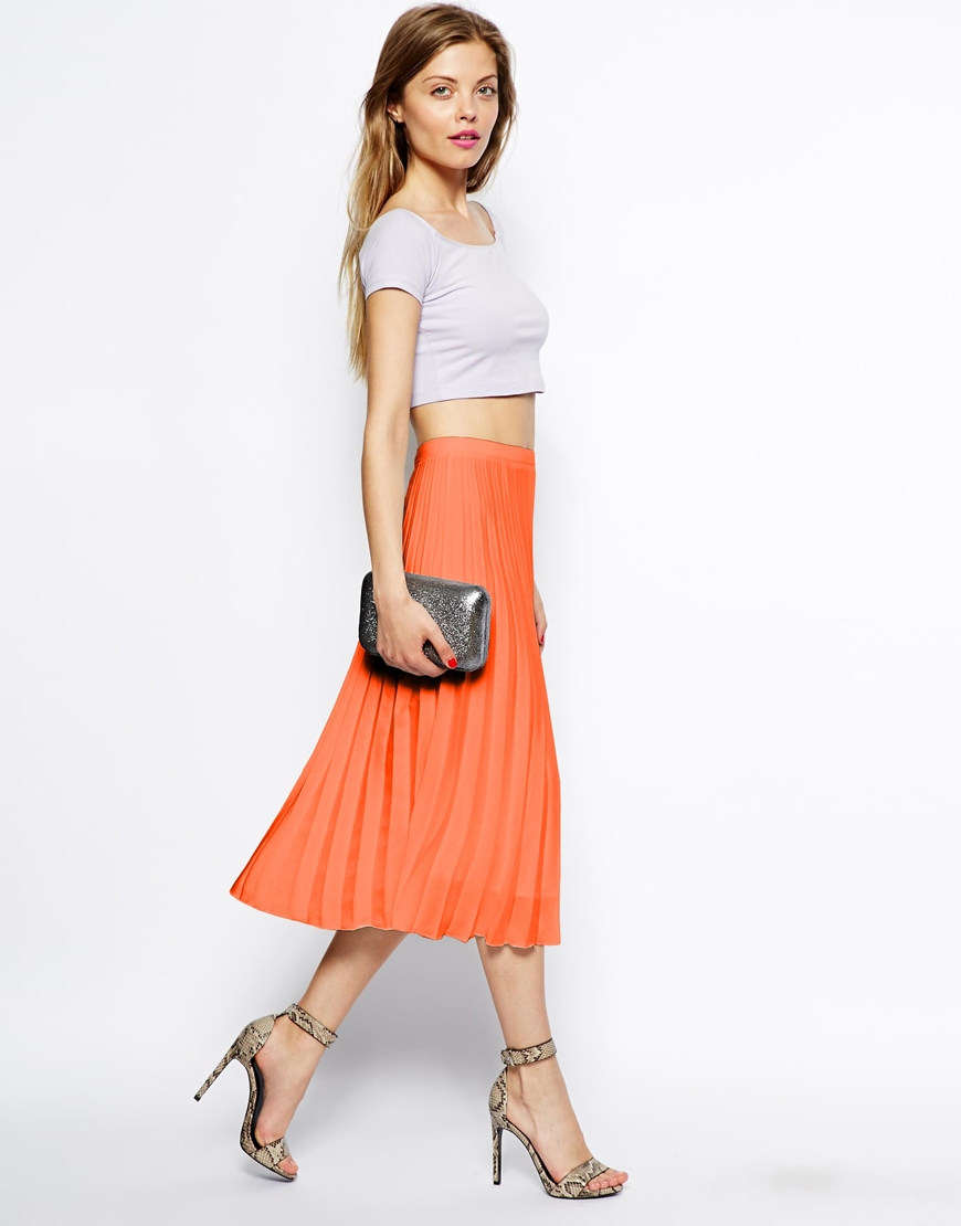 Asos Pleated Midi Skirt in Orange | Lyst