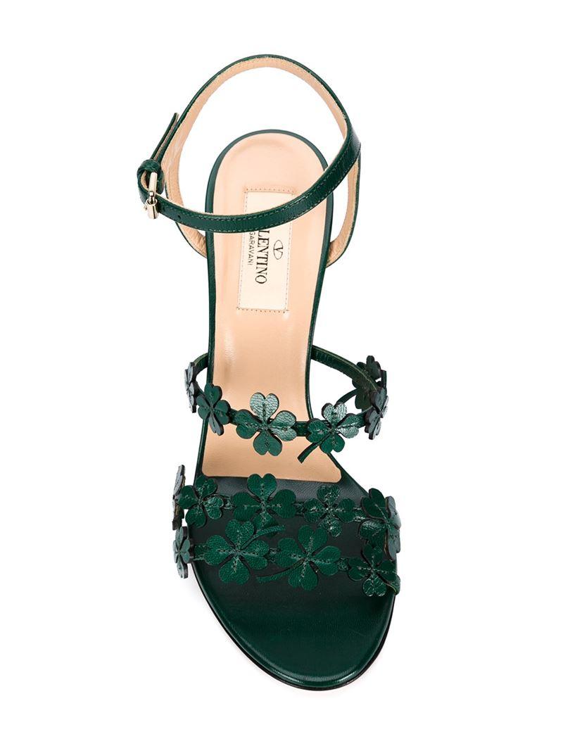 4eeffa828c Valentino Four Leaf Clover Sandals in Green - Lyst