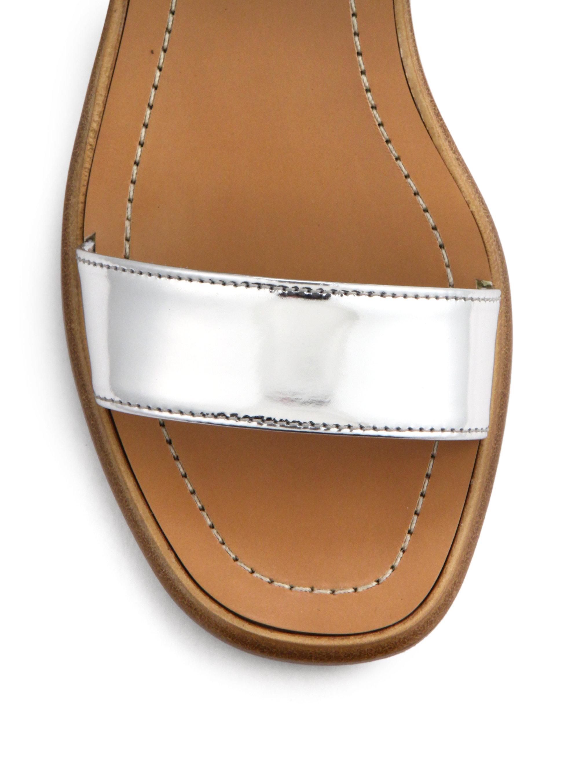 6ea0945b28c Lyst - Prada Metallic Leather Low Block-Heeled Sandals in Metallic