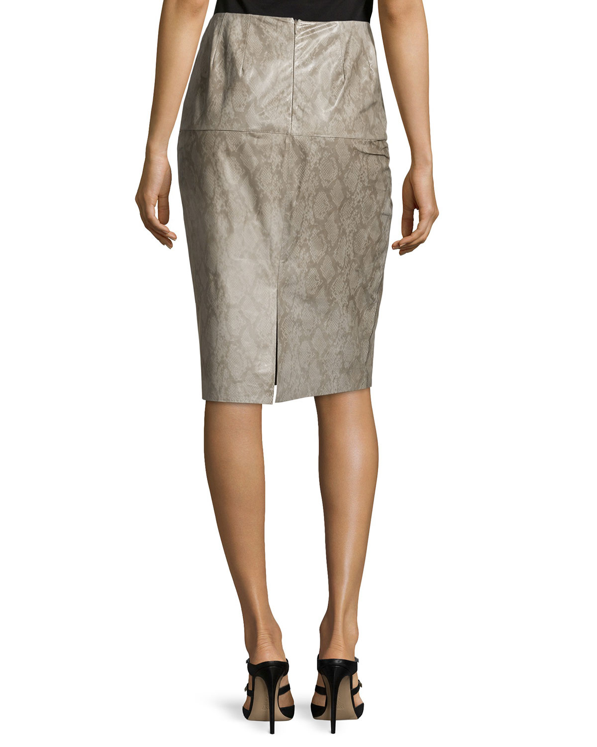 lafayette 148 new york snake print leather pencil skirt in