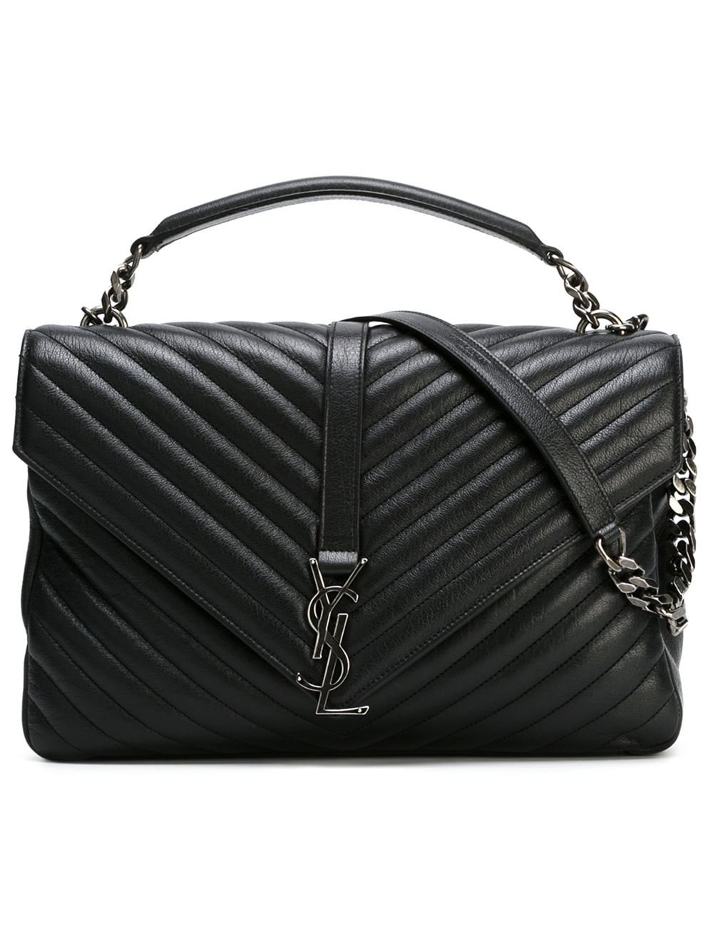 saint laurent large coll ge monogram leather shoulder bag in black lyst. Black Bedroom Furniture Sets. Home Design Ideas