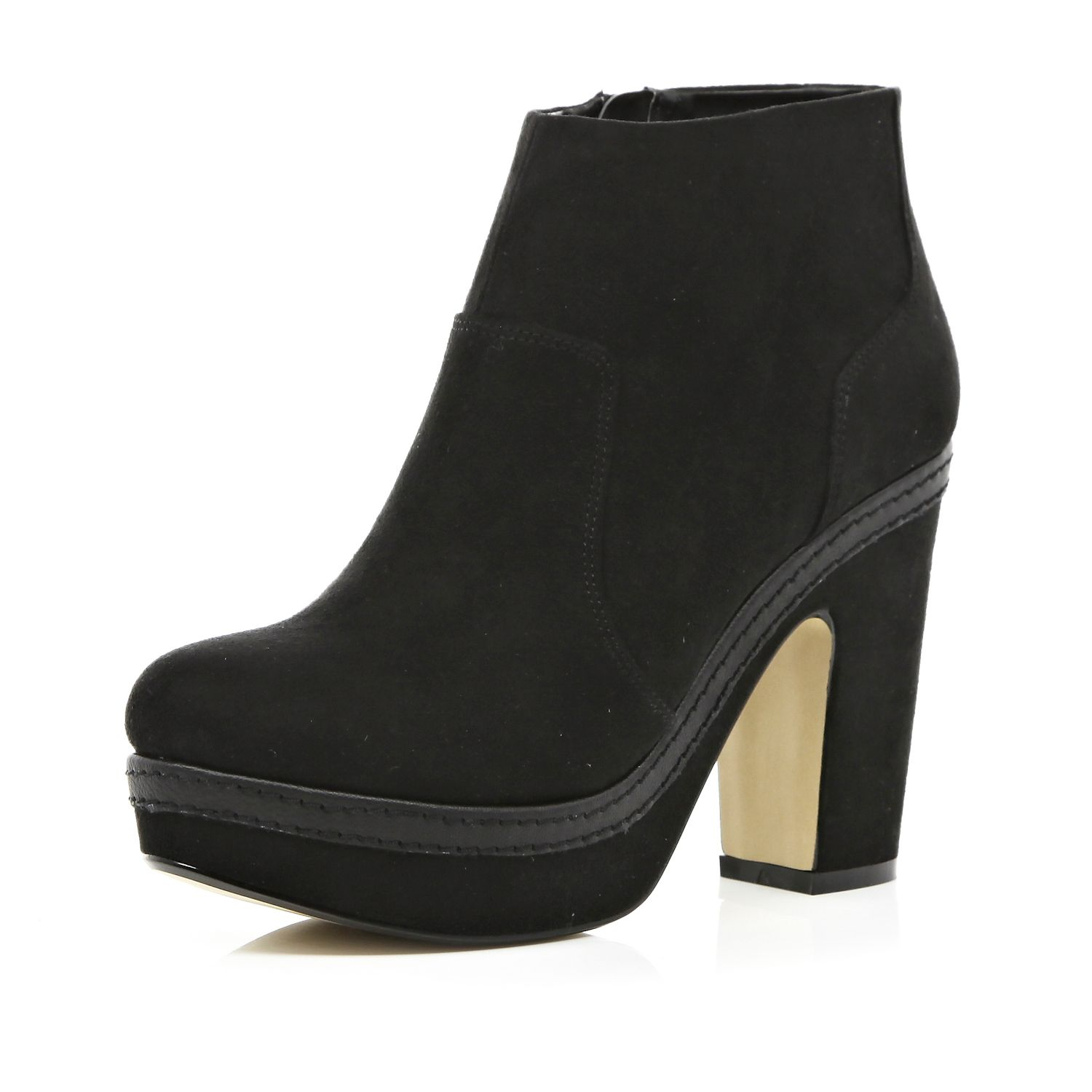 river island black platform ankle boots in black lyst