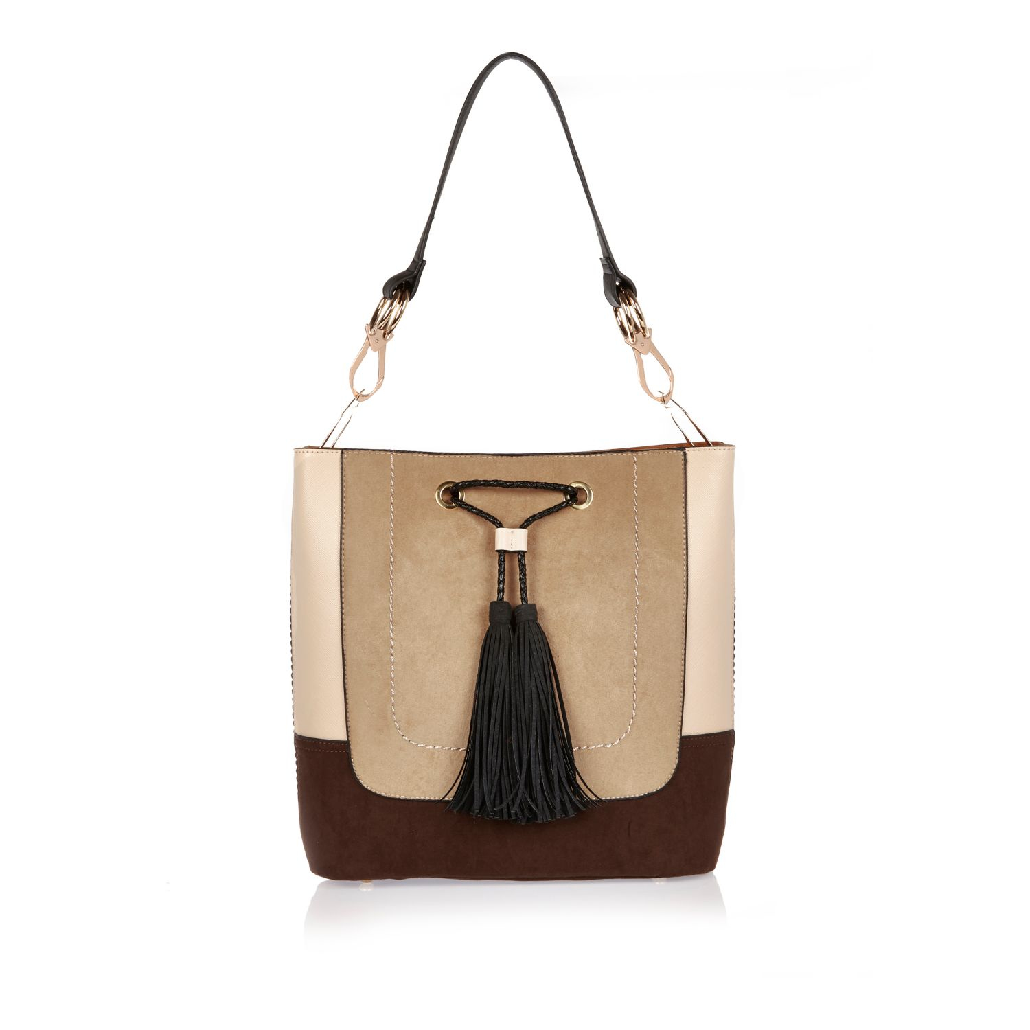 0acf744f River Island Cream Color Block Slouch Bucket Bag in Natural - Lyst