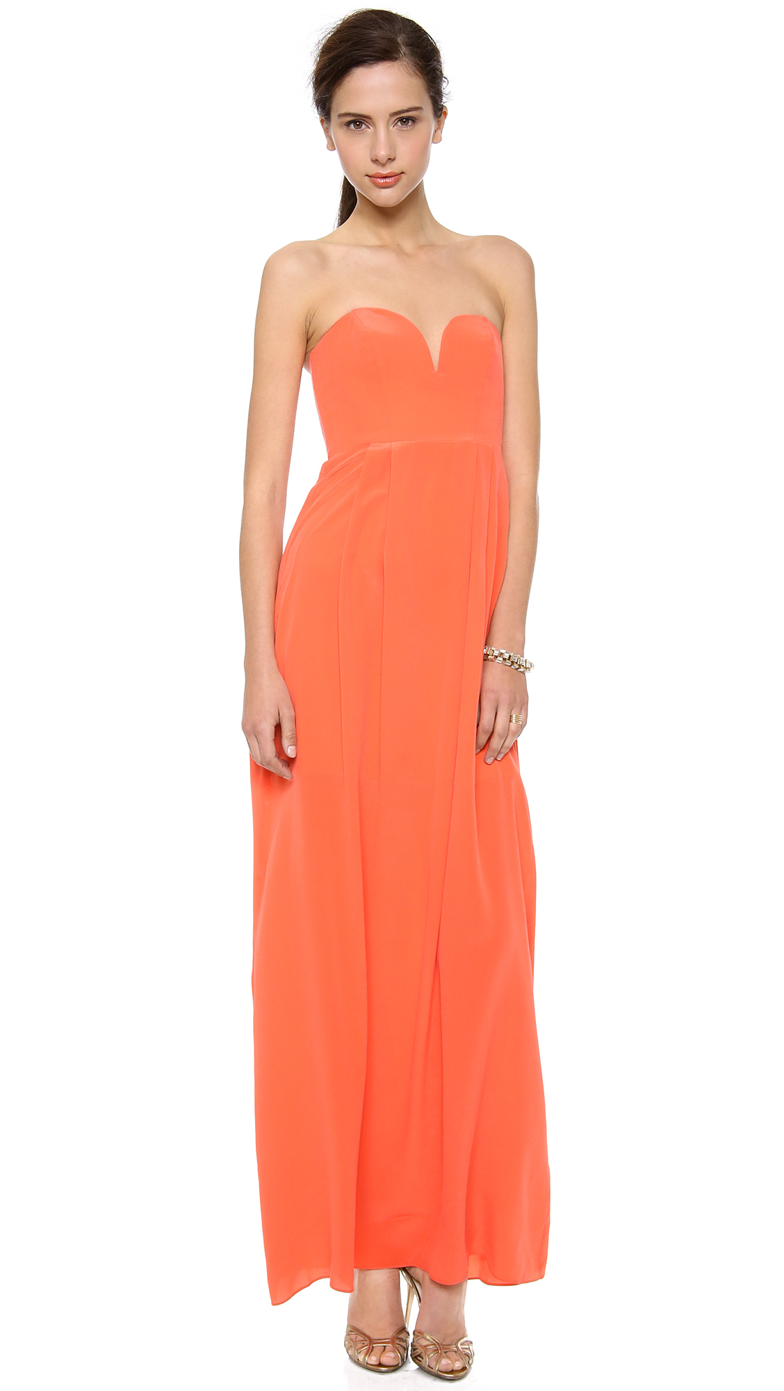Zimmermann Strapless Maxi Dress in Orange | Lyst