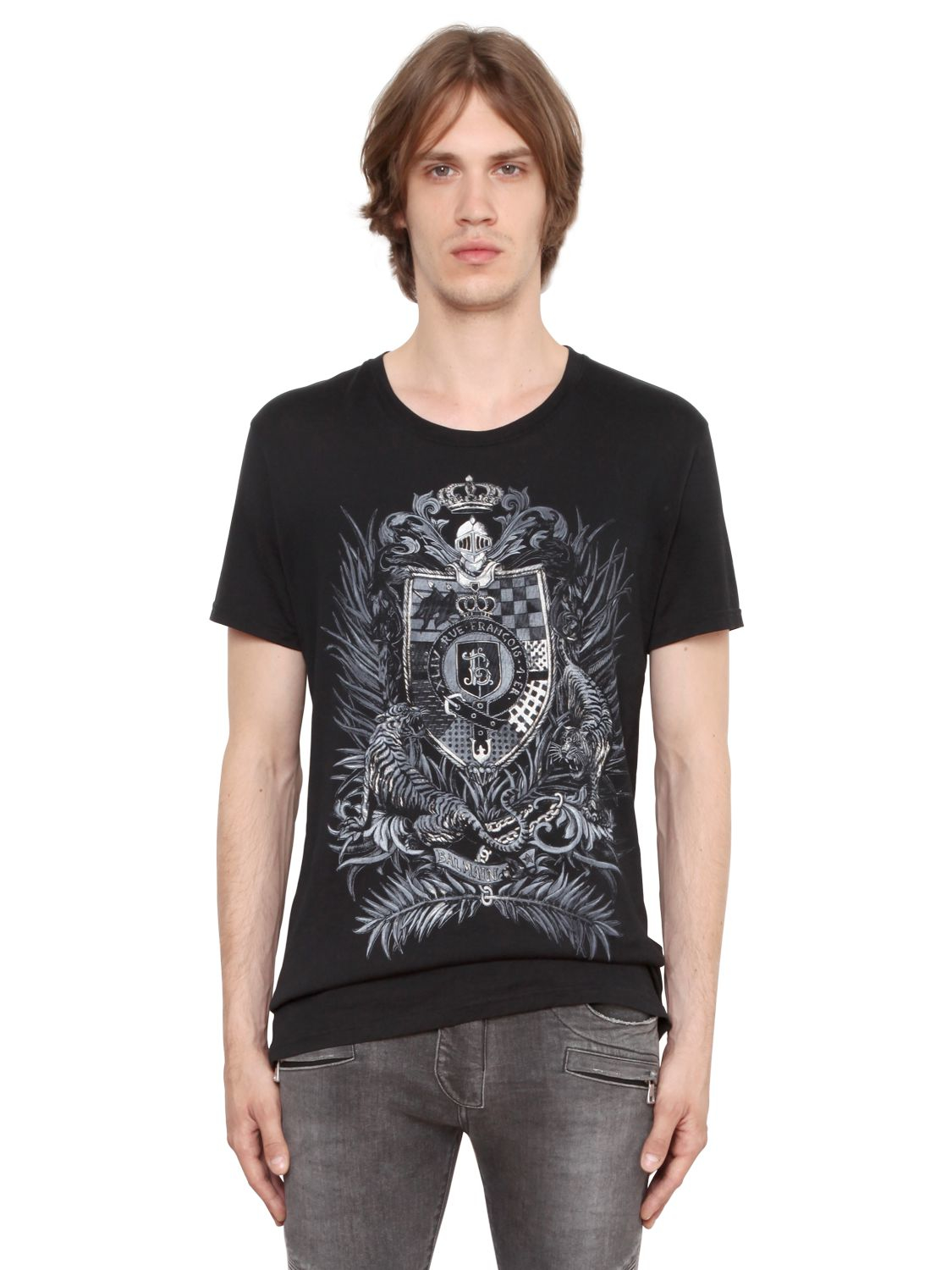 balmain crest printed cotton jersey t shirt in black for men lyst. Black Bedroom Furniture Sets. Home Design Ideas