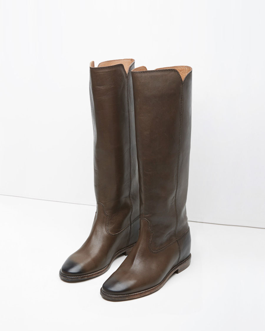 toile isabel marant chess leather knee high boots in brown lyst. Black Bedroom Furniture Sets. Home Design Ideas