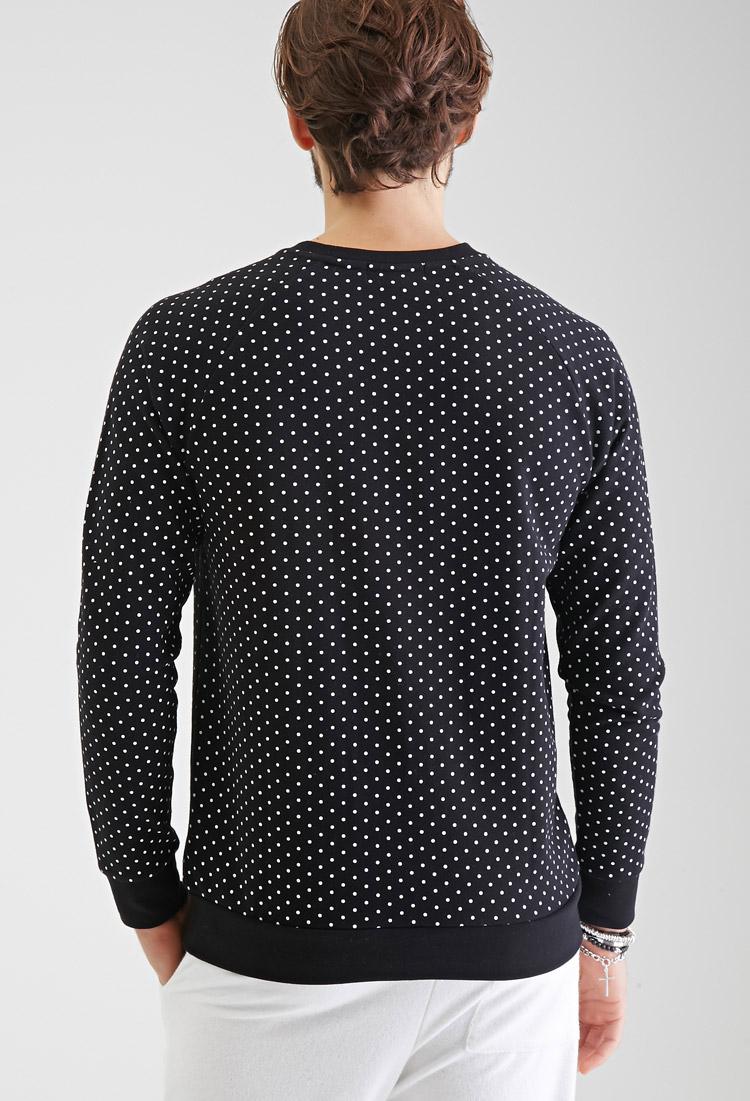 Lyst Forever 21 Heathered Polka Dot Sweatshirt In Black For Men