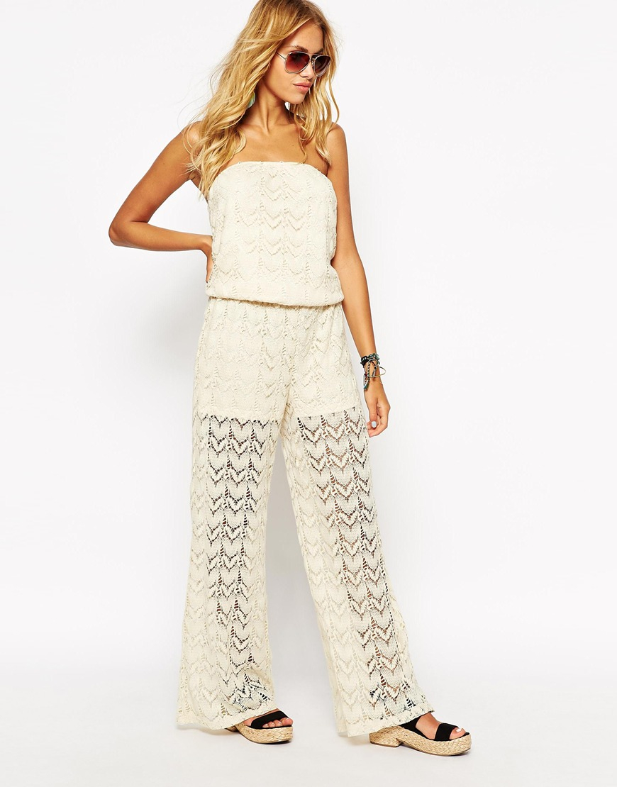 1629df2e5793 Lyst - Surf Gypsy Crochet Beach Jumpsuit in Natural