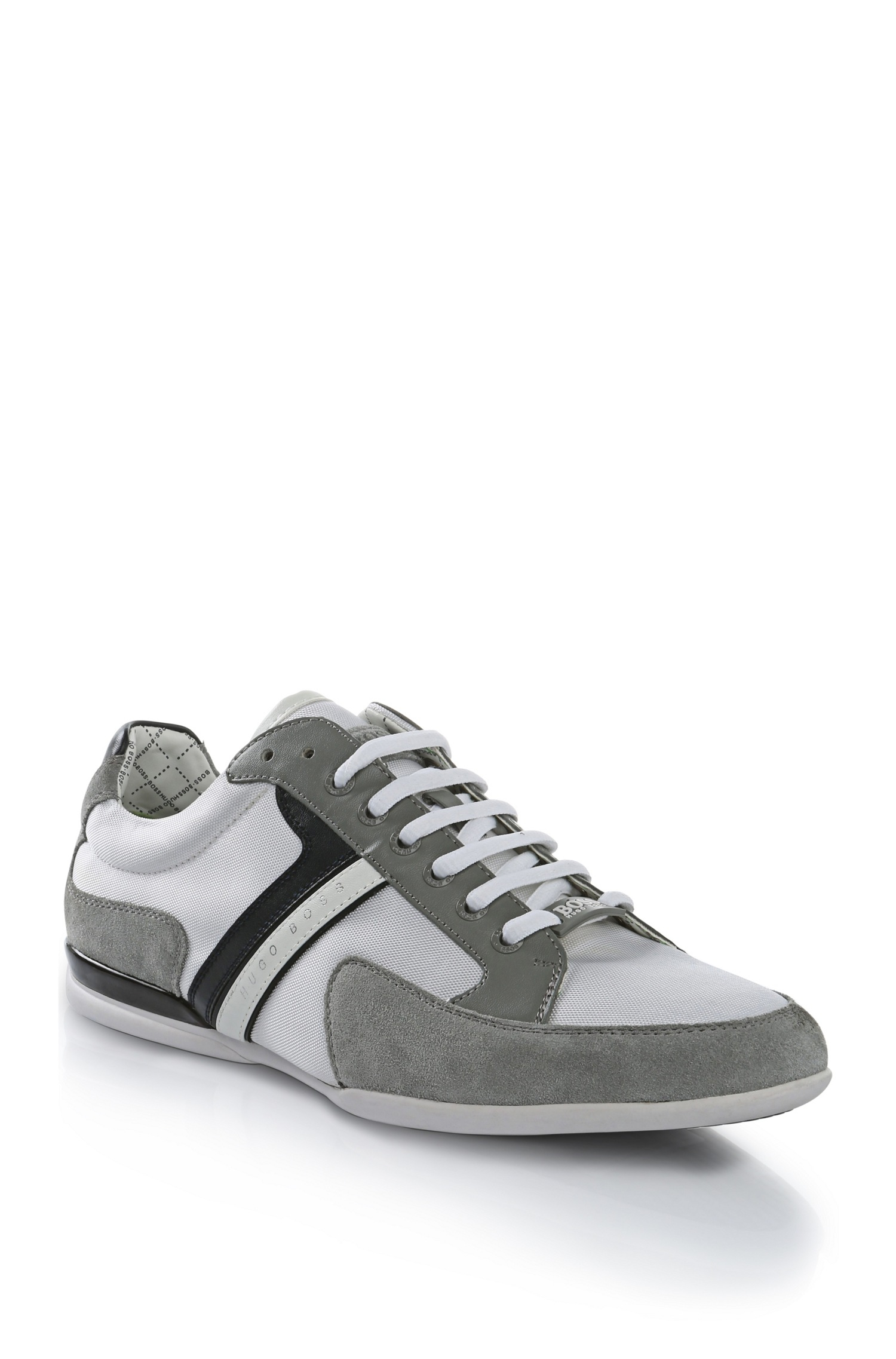 boss green 39 spacit 39 leather and suede sneakers in gray for men lyst. Black Bedroom Furniture Sets. Home Design Ideas
