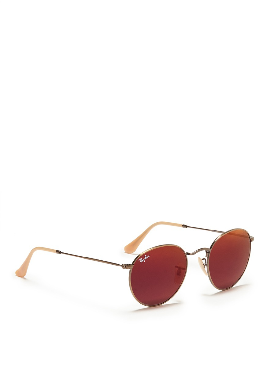 c4c7400c63 Ray-Ban Round Metal Mirror Sunglasses in Red - Lyst