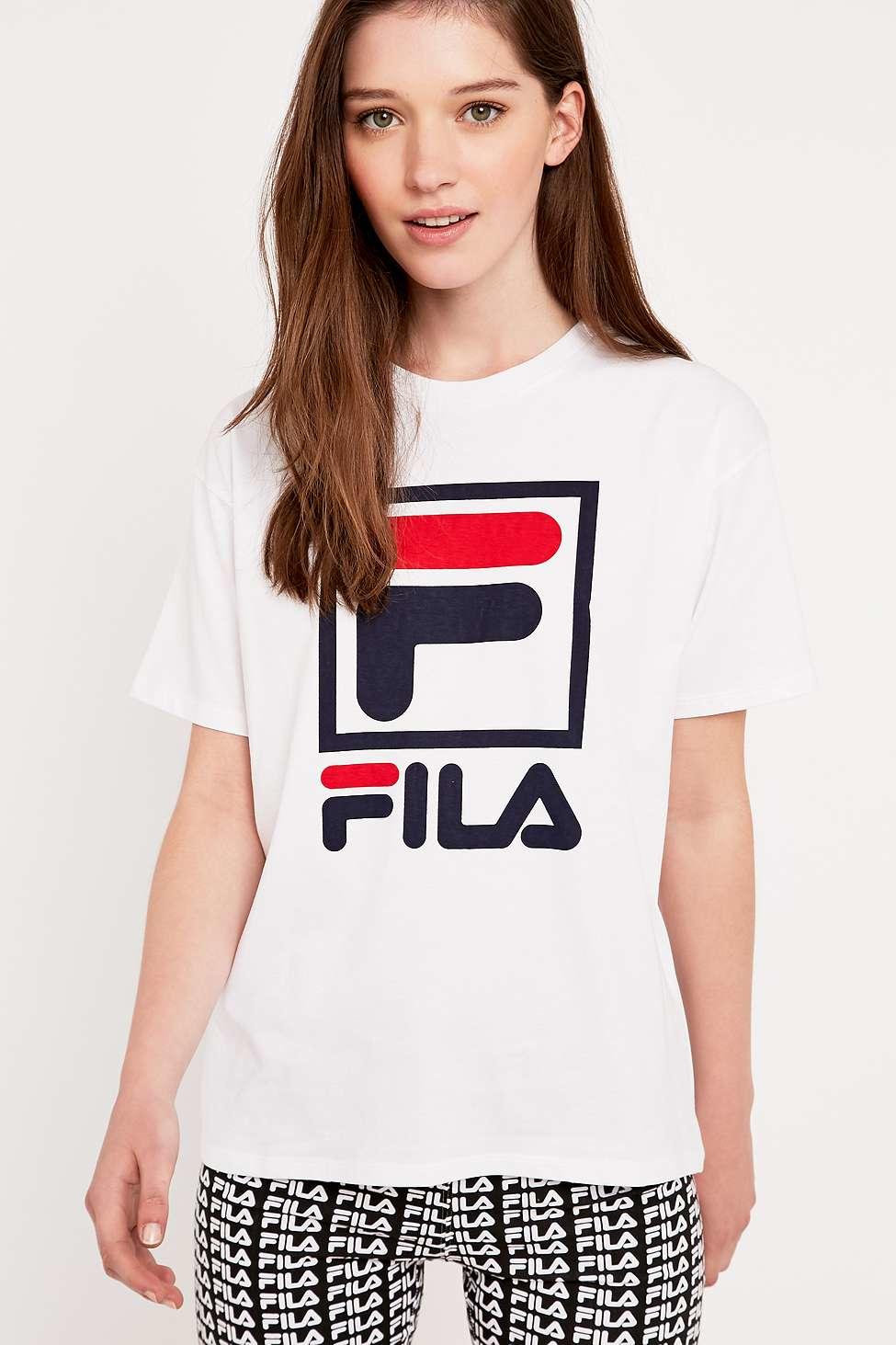 fila logo t shirt in white lyst. Black Bedroom Furniture Sets. Home Design Ideas