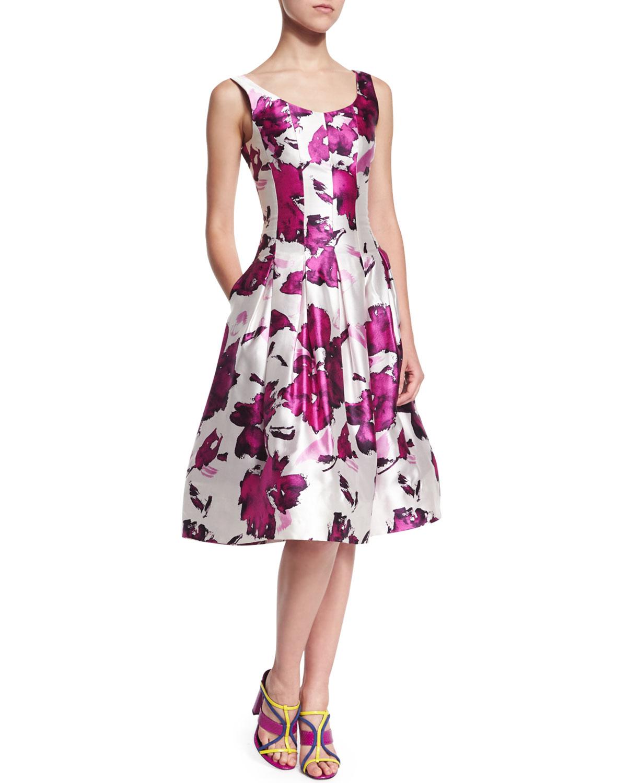 Oscar De La Renta Woman Cotton-blend Dress Magenta Size 10 Oscar De La Renta ft6qZgS