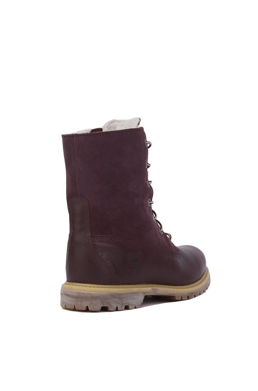 timberland auth teddy fleece purple womens boots