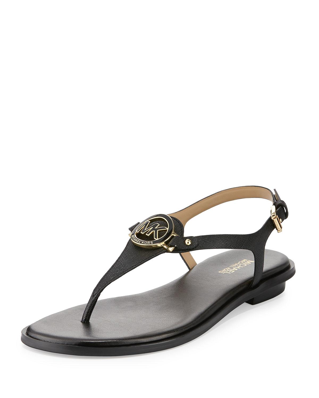 57d1546cd MICHAEL Michael Kors Lee Leather Flat Thong Sandal in Black - Lyst