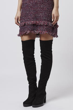 topshop bari stretch the knee boots in black lyst