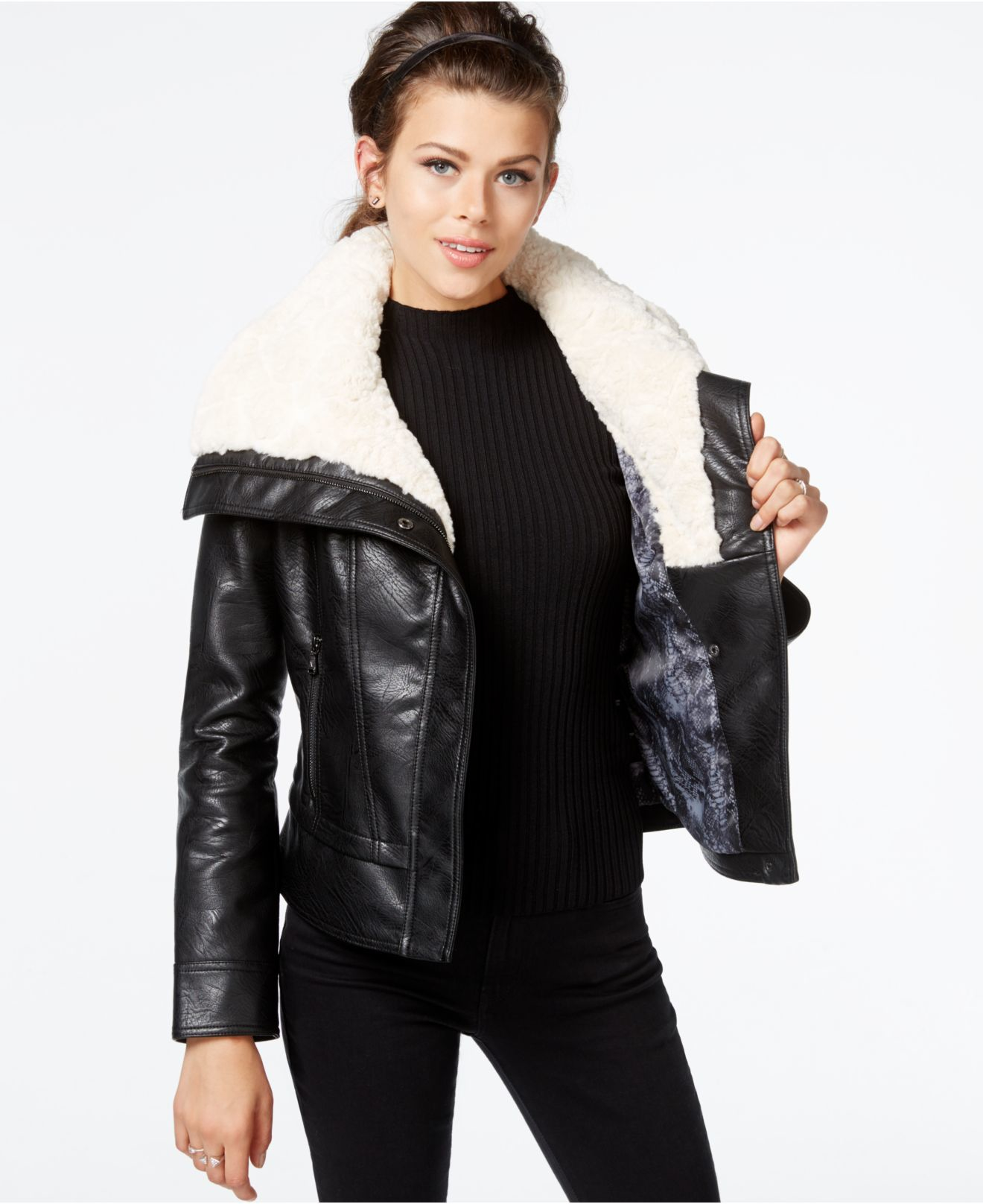 Guess Faux-fur-collar Faux-leather Jacket in Black | Lyst