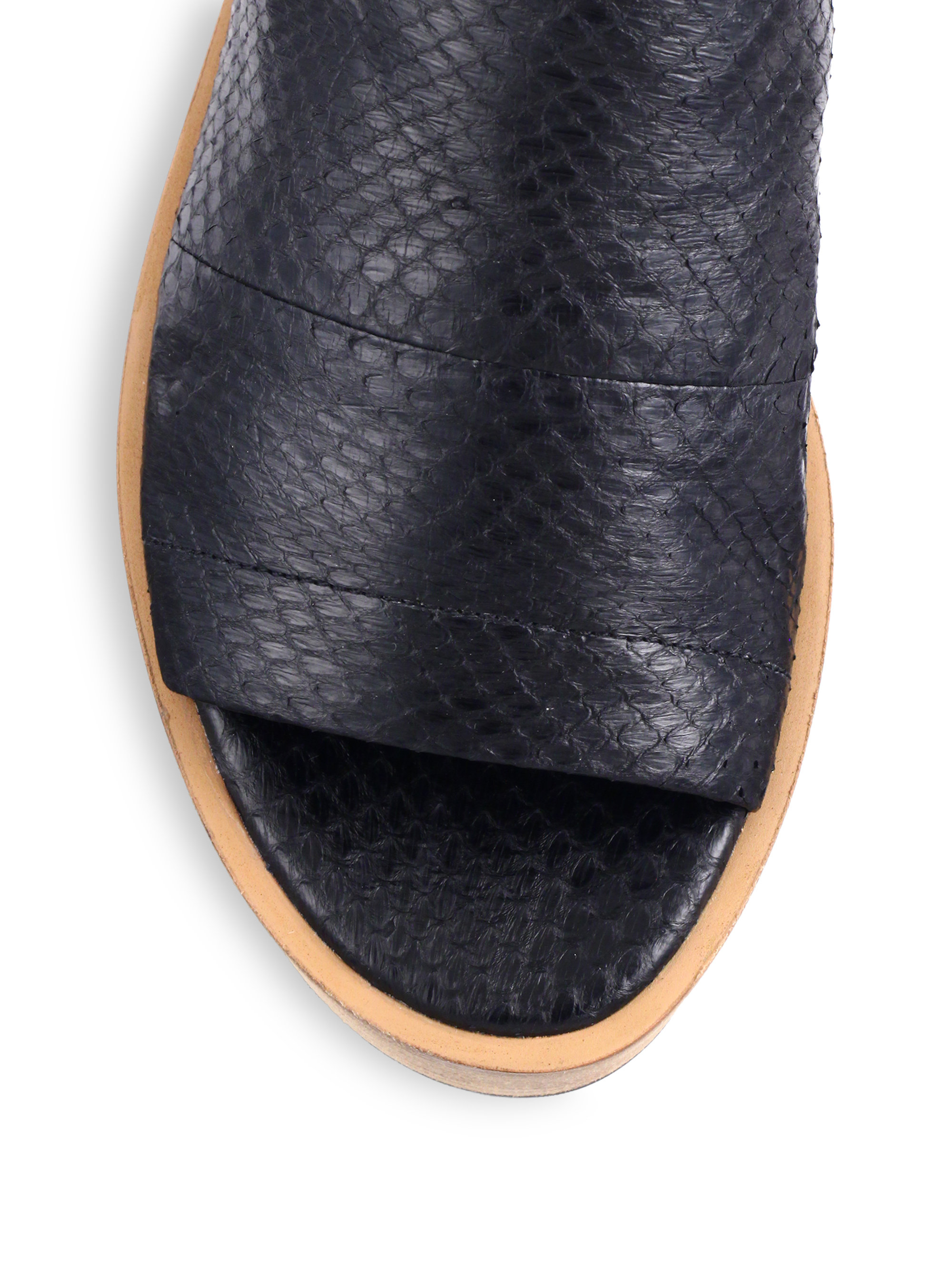 83f90646bf5 Lyst - Vince Saskia Snakeskin-embossed Leather Platform Slide ...