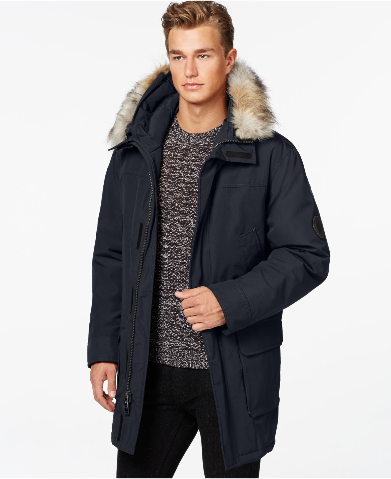 Calvin klein Faux-Fur Hooded Jacket in Blue for Men | Lyst
