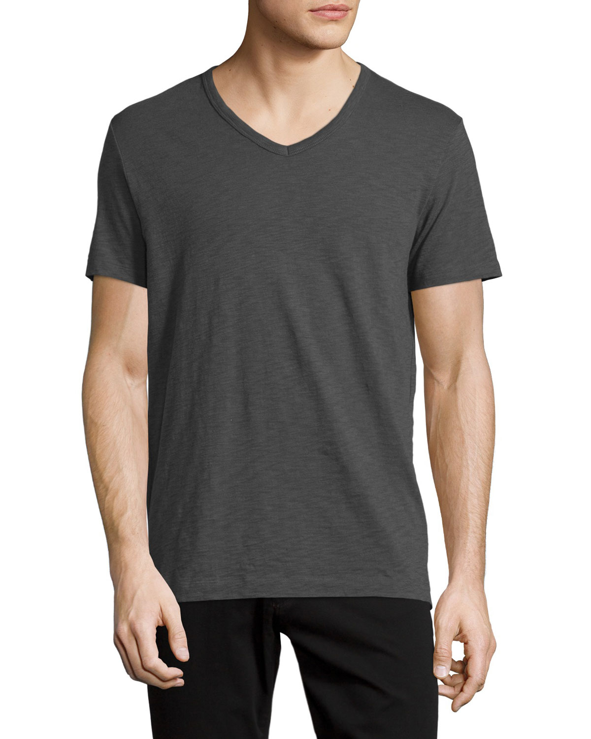 Vince slub jersey v neck t shirt in gray for men lyst for Vince tee shirts sale