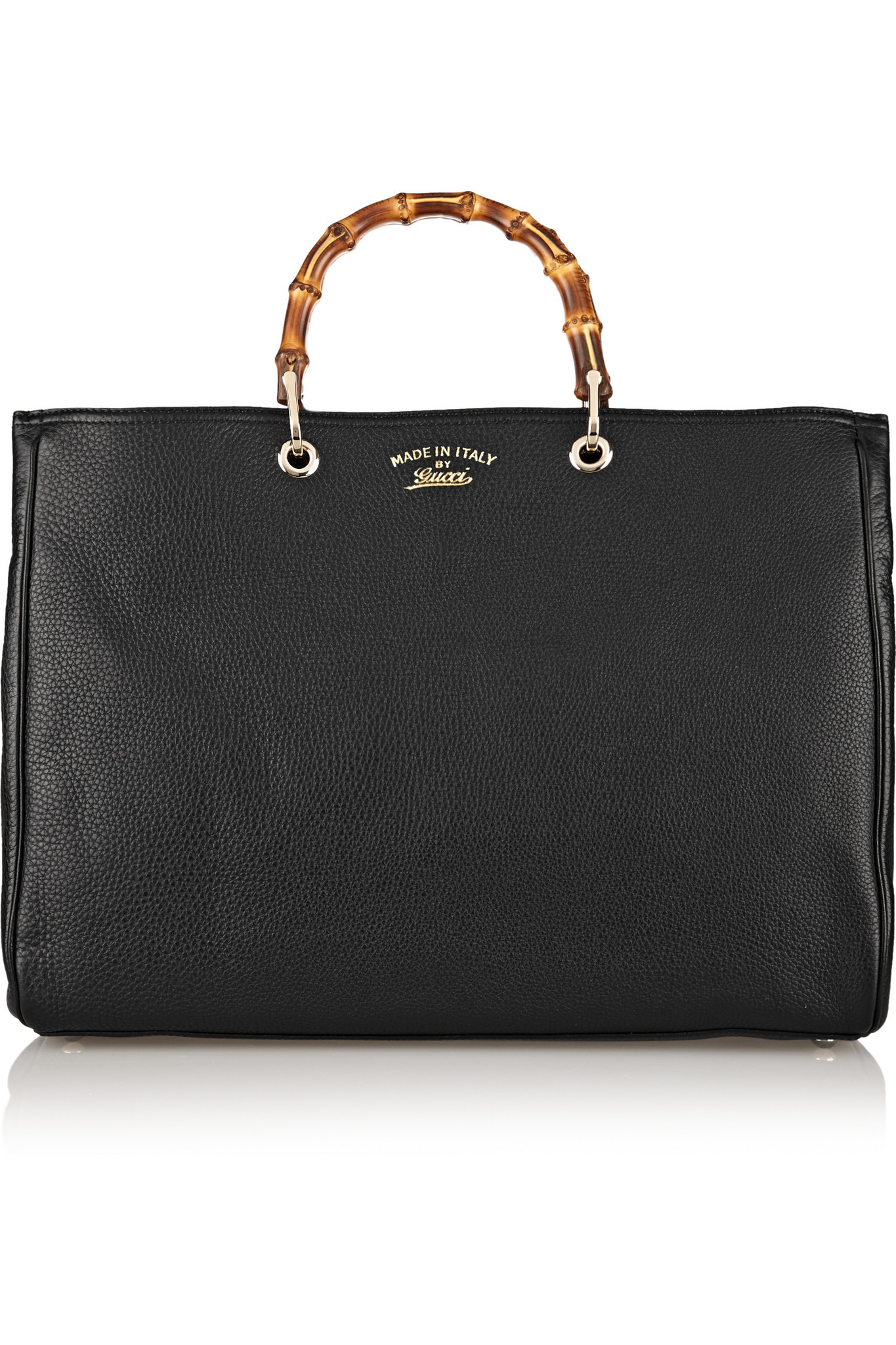 gucci bamboo shopper large textured leather tote in black lyst. Black Bedroom Furniture Sets. Home Design Ideas