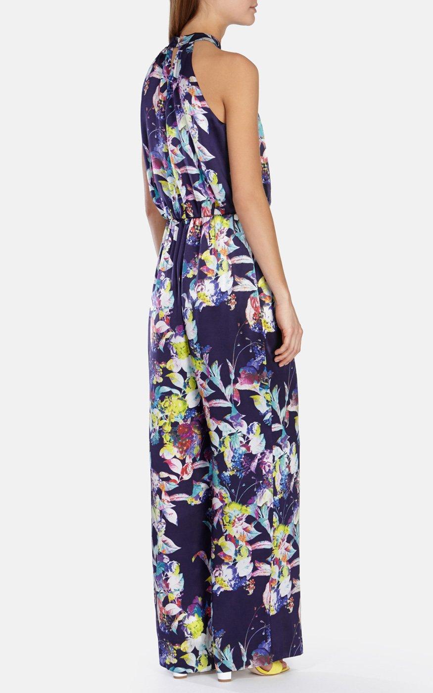 88ecd5f66ac Lyst - Karen Millen Silk Satin Floral Print Fluid Jumpsuit