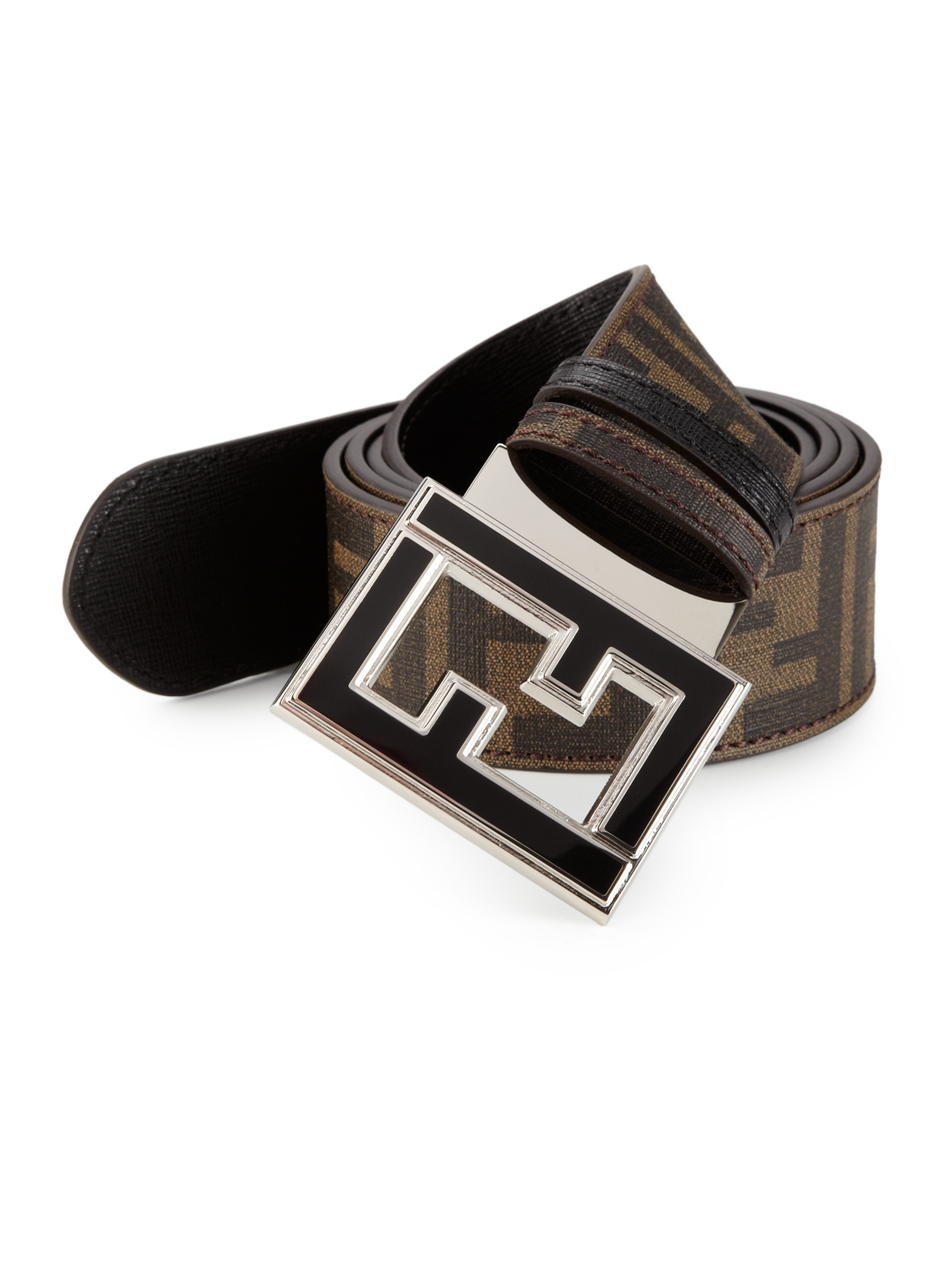 c21ae749f7 ... usa lyst fendi colorado zucca reversible leather belt in black for men  fendi tobacco black zucca