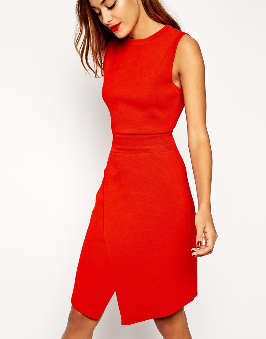 7f6c090fa45 Lyst - ASOS Wrap Dress In Structured Knit With Cut Out Detail in Red