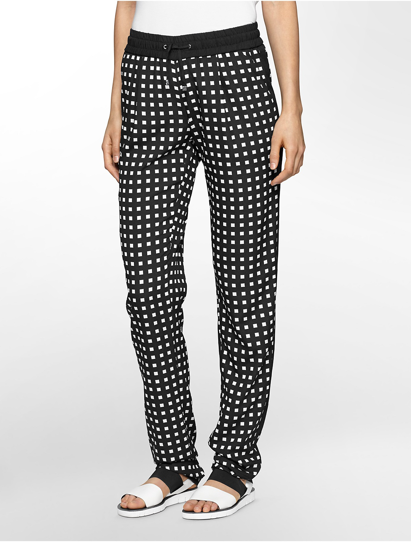Calvin klein White Label Black   White Print Tapered Soft Pants in ...