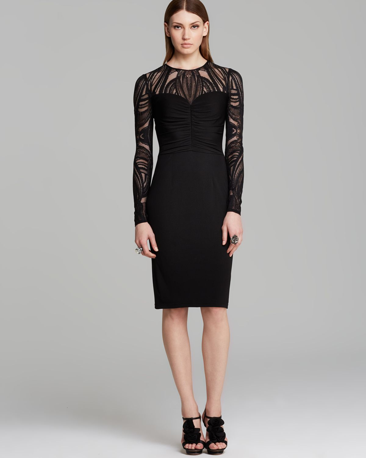 David meister Tattoo Sleeve Ruched Bodice Jersey Sheath Dress in ...