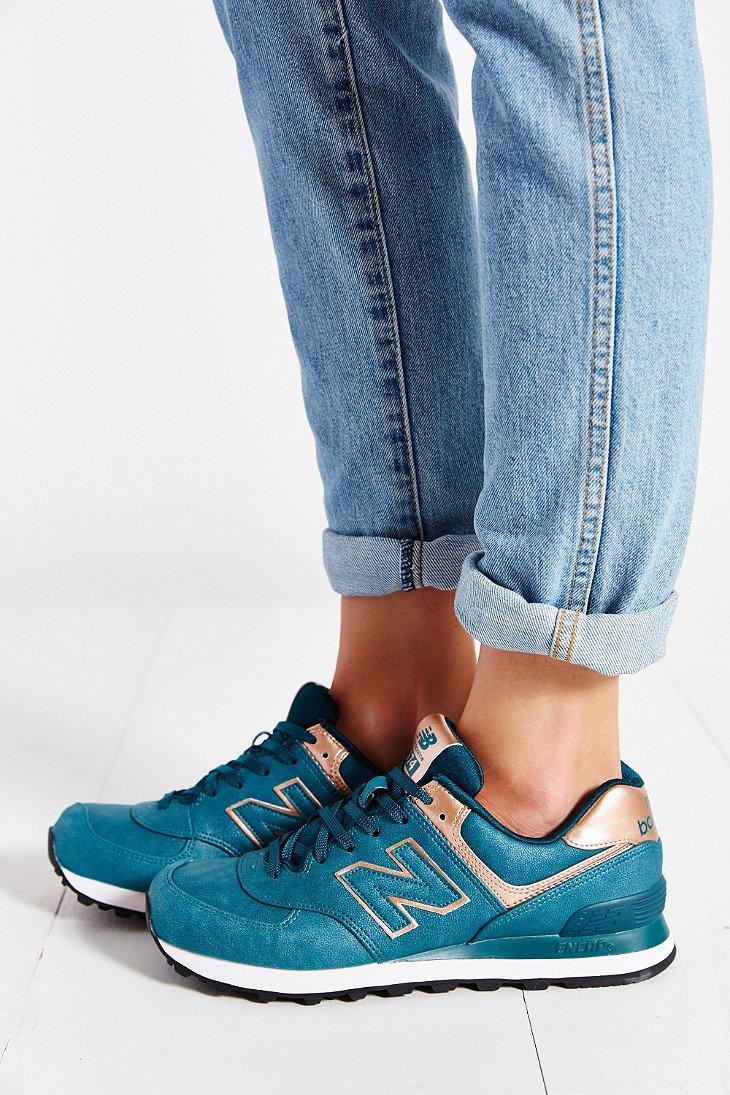 New Balance Blue 574 Precious Metals Running Sneaker