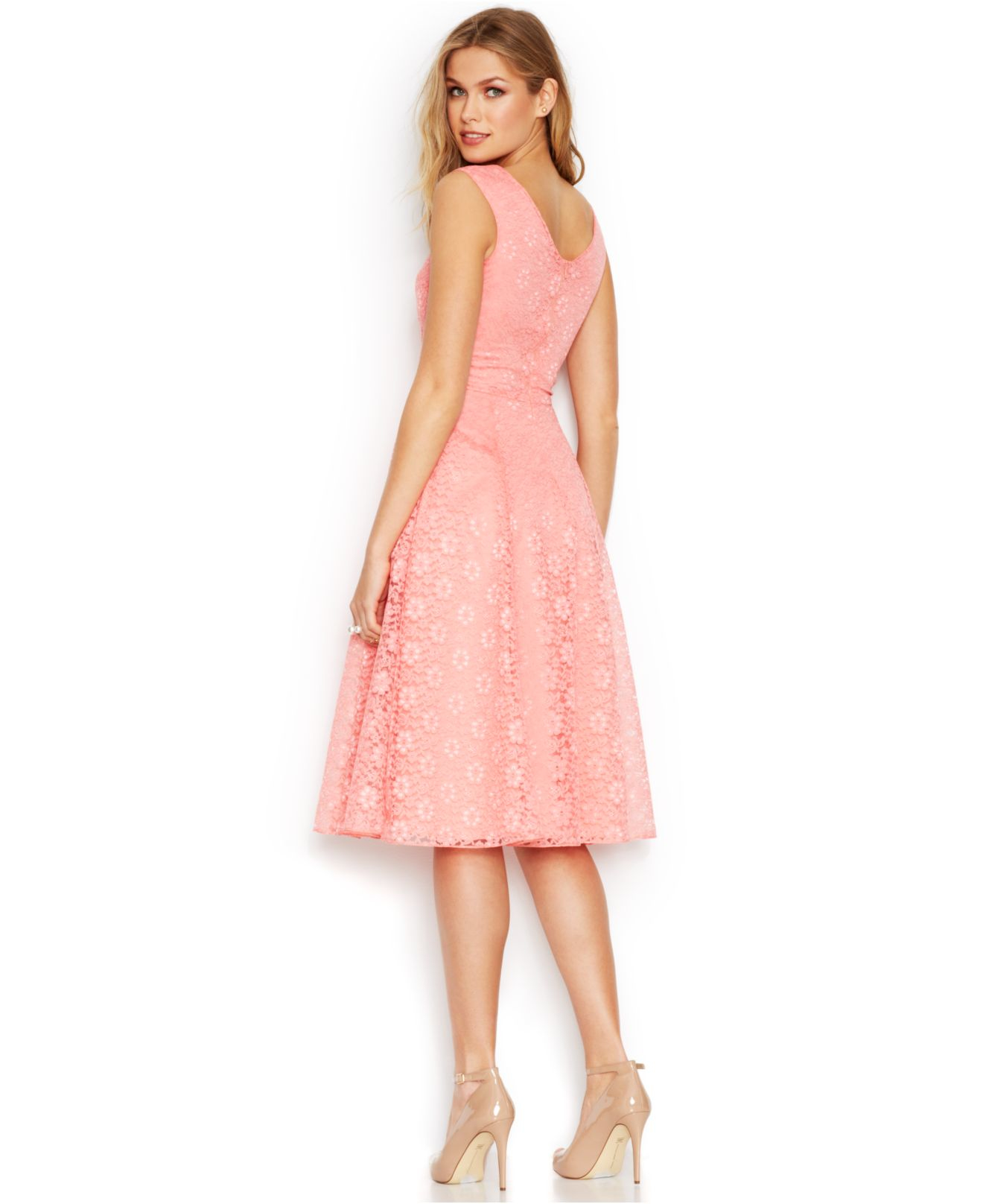 tea length sweater dresses lyst betsey johnson floral lace tea length dress in pink 6565