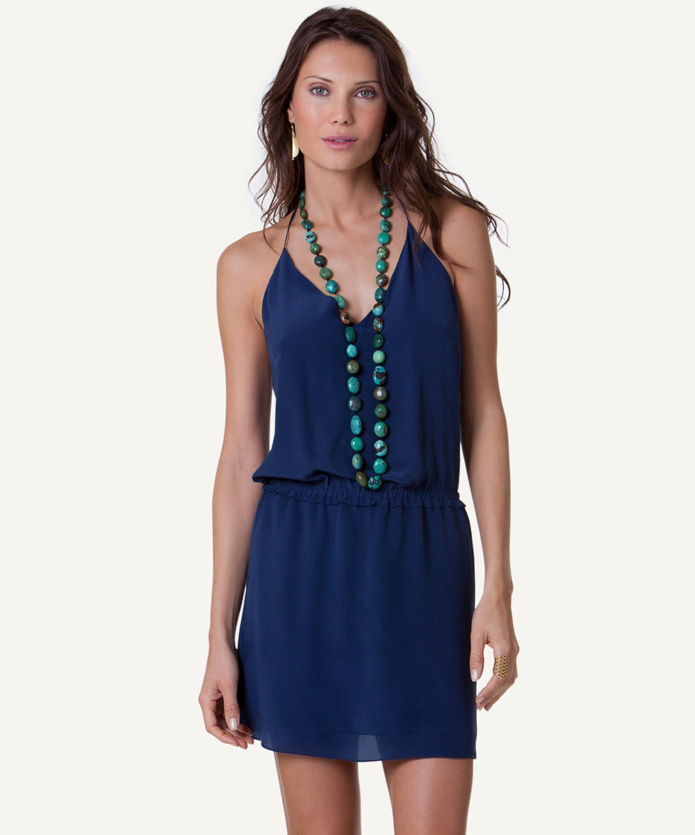 vix solid indigo blue kim short dress in blue lyst
