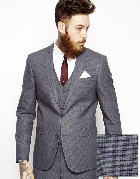 asos slim fit suit jacket in mini houndstooth in blue for. Black Bedroom Furniture Sets. Home Design Ideas