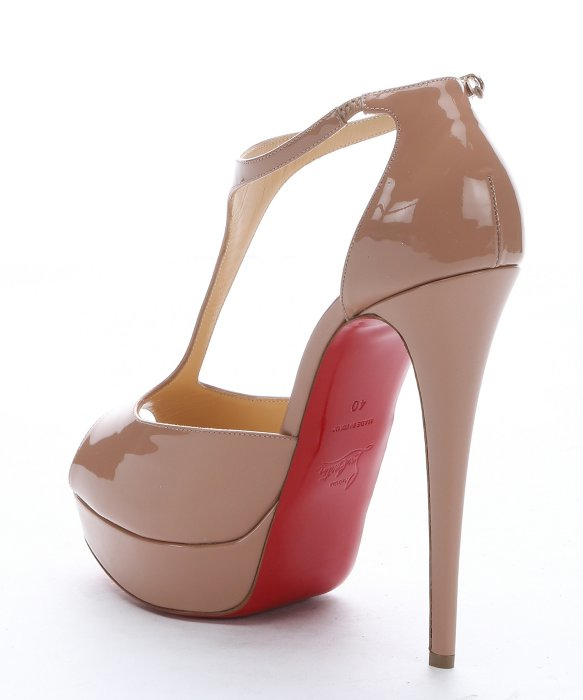 replica shoes christian louboutin - Christian louboutin Nude Patent Leather \u0026#39;jilopa 150\u0026#39; T-strap ...