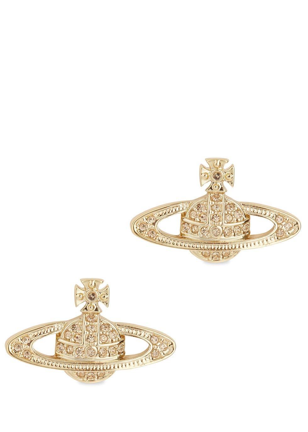 938d81895 Vivienne Westwood Gold Tone Swarovski Crystal Orb Earrings in ...