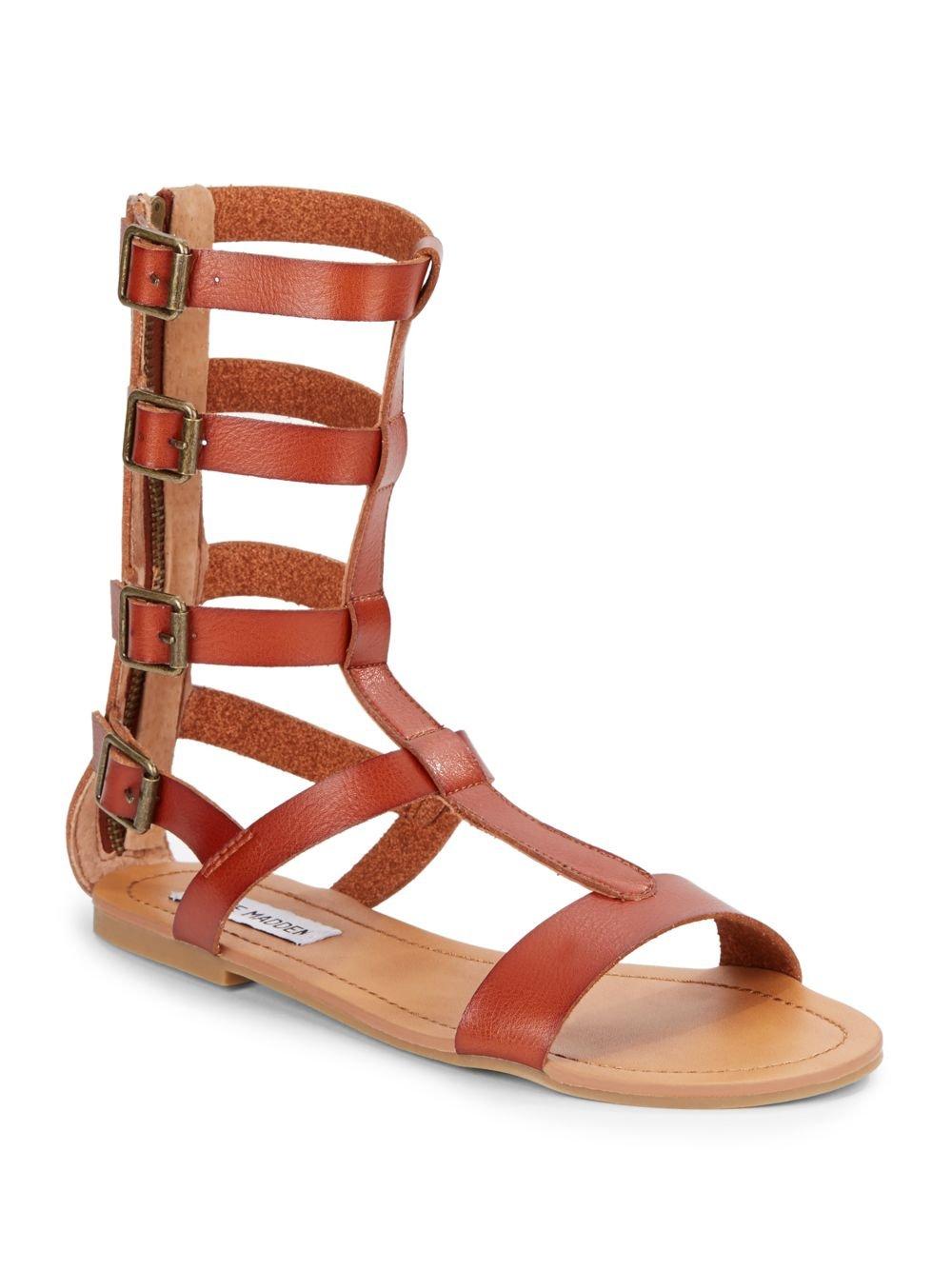 steve madden gunterr gladiator flat leather sandals in red cognac lyst. Black Bedroom Furniture Sets. Home Design Ideas
