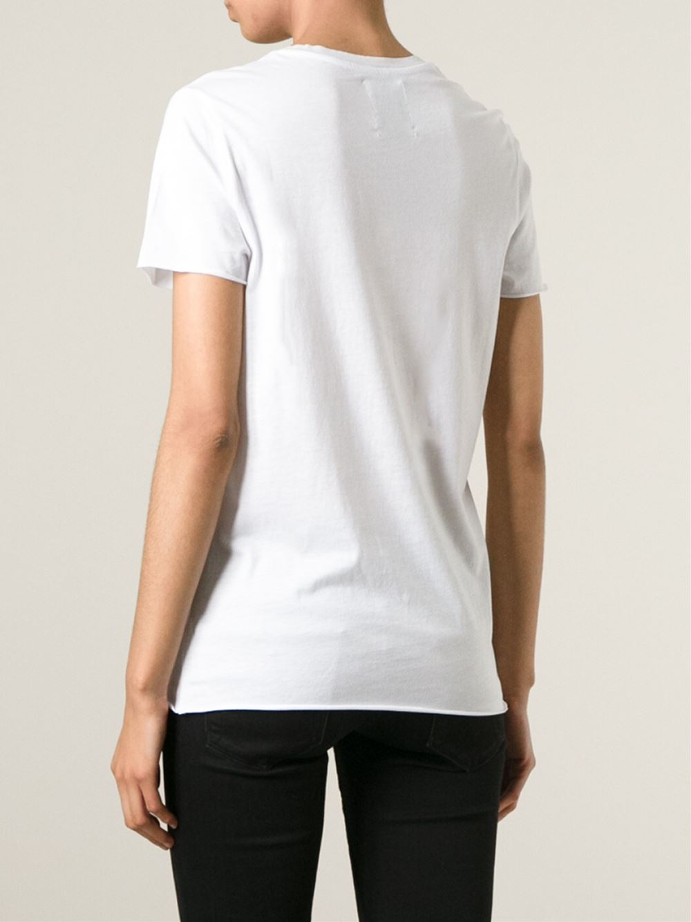 Zoe Karssen Flamingo Print T Shirt In White Lyst