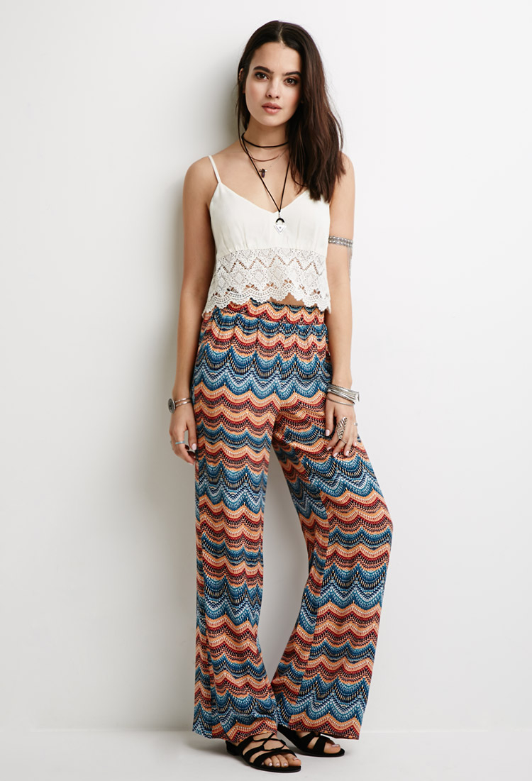 33b32114c8a Lyst - Forever 21 Abstract Print Palazzo Pants